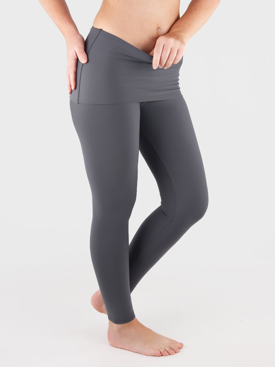 Customisable Body Shaping Gray Fold Over Yoga Pants Leggings - 9