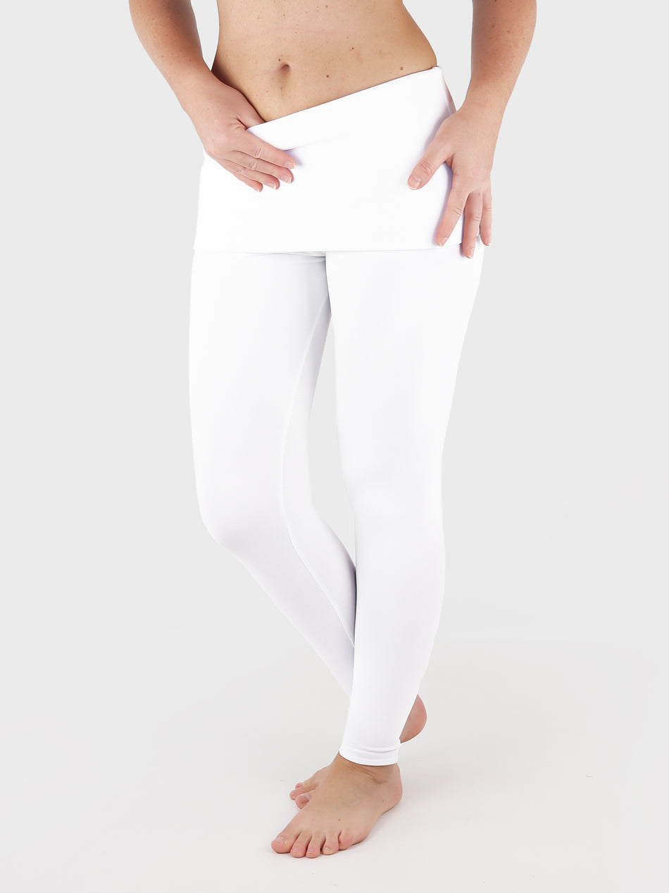 Low Waist Extra Long White Fold Over Waist Yoga Leggings - 6