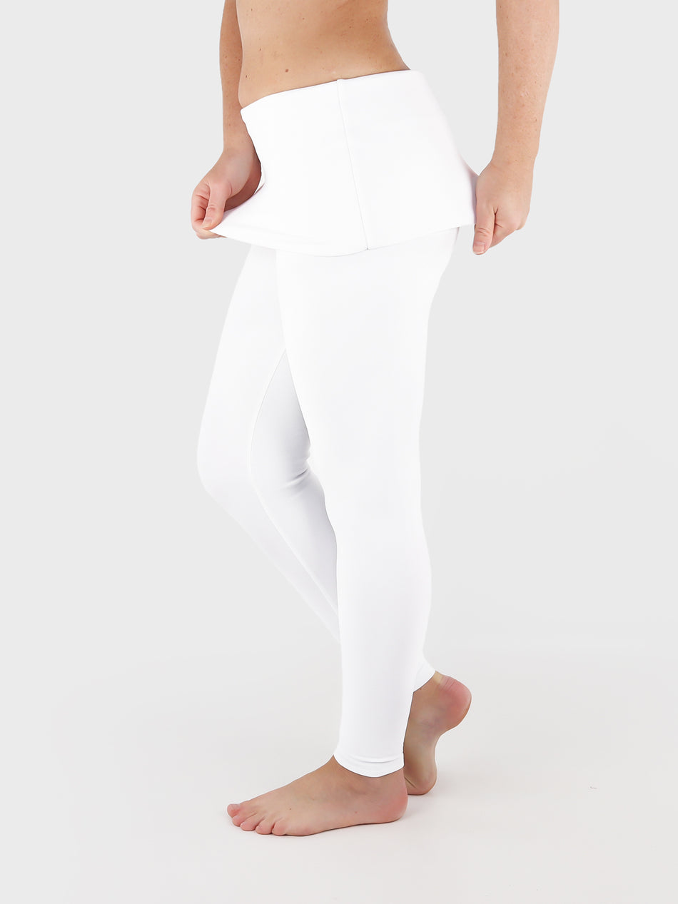 Low Waist Extra Long White Fold Over Waist Yoga Leggings - 3