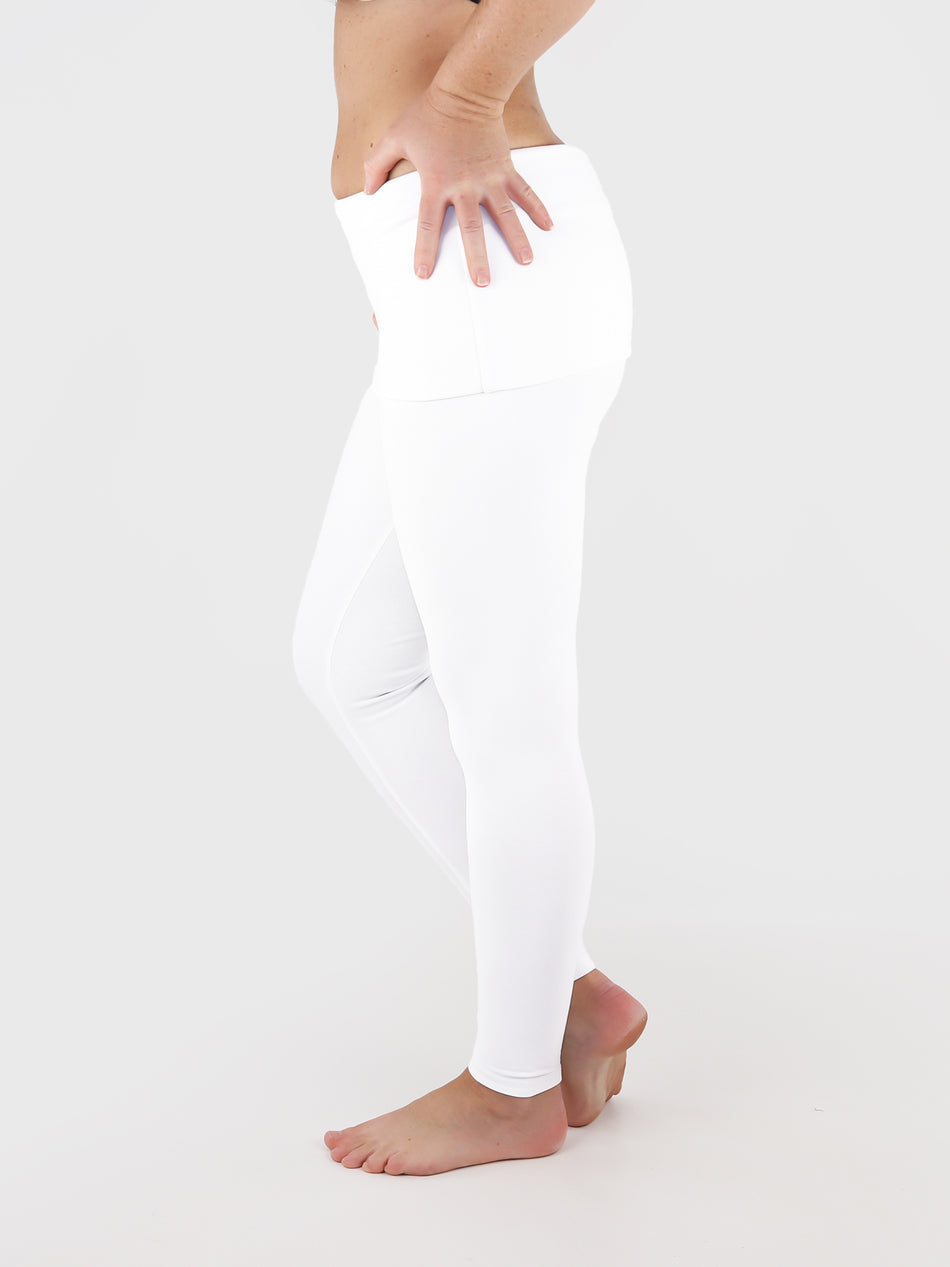 Low Waist Extra Long White Fold Over Waist Yoga Leggings - 4