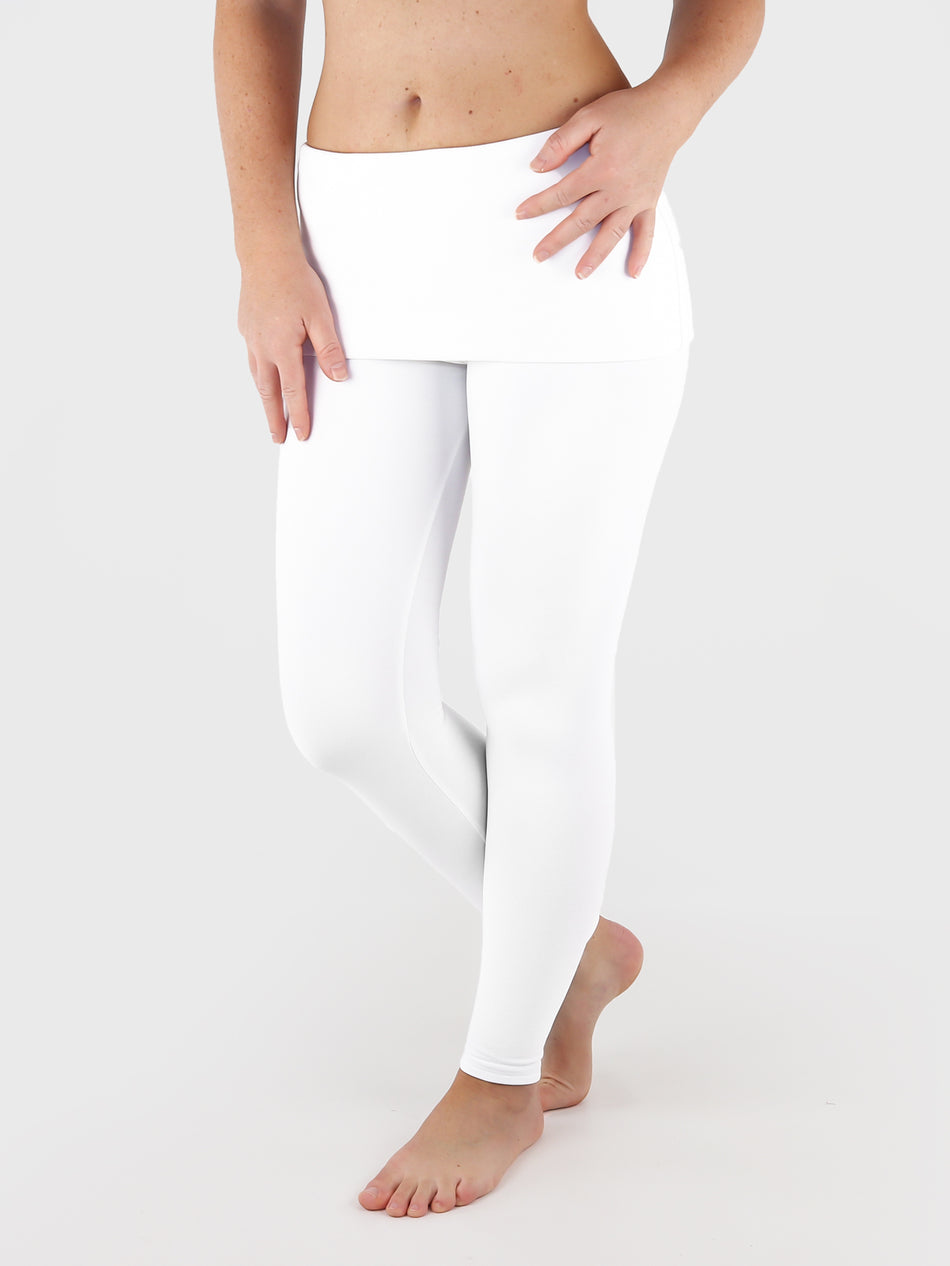 Low Waist Extra Long White Fold Over Waist Yoga Leggings - 7
