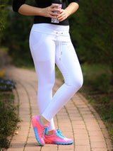 Low Waist White Running Leggings with Drawstring and Pockets - 11