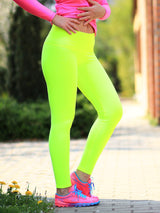 Custom Mid Waist Neon Glow In The Dark Yoga Leggings for Workout - 2