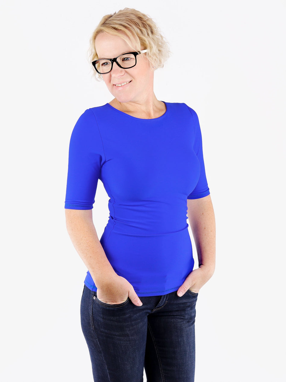 Handmade Minimalist Royal Blue Crew Neck Tops with Elbow Sleeves - 4