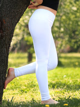 Custom Mid Waited White Womens Long White Leggings for Yoga - 2