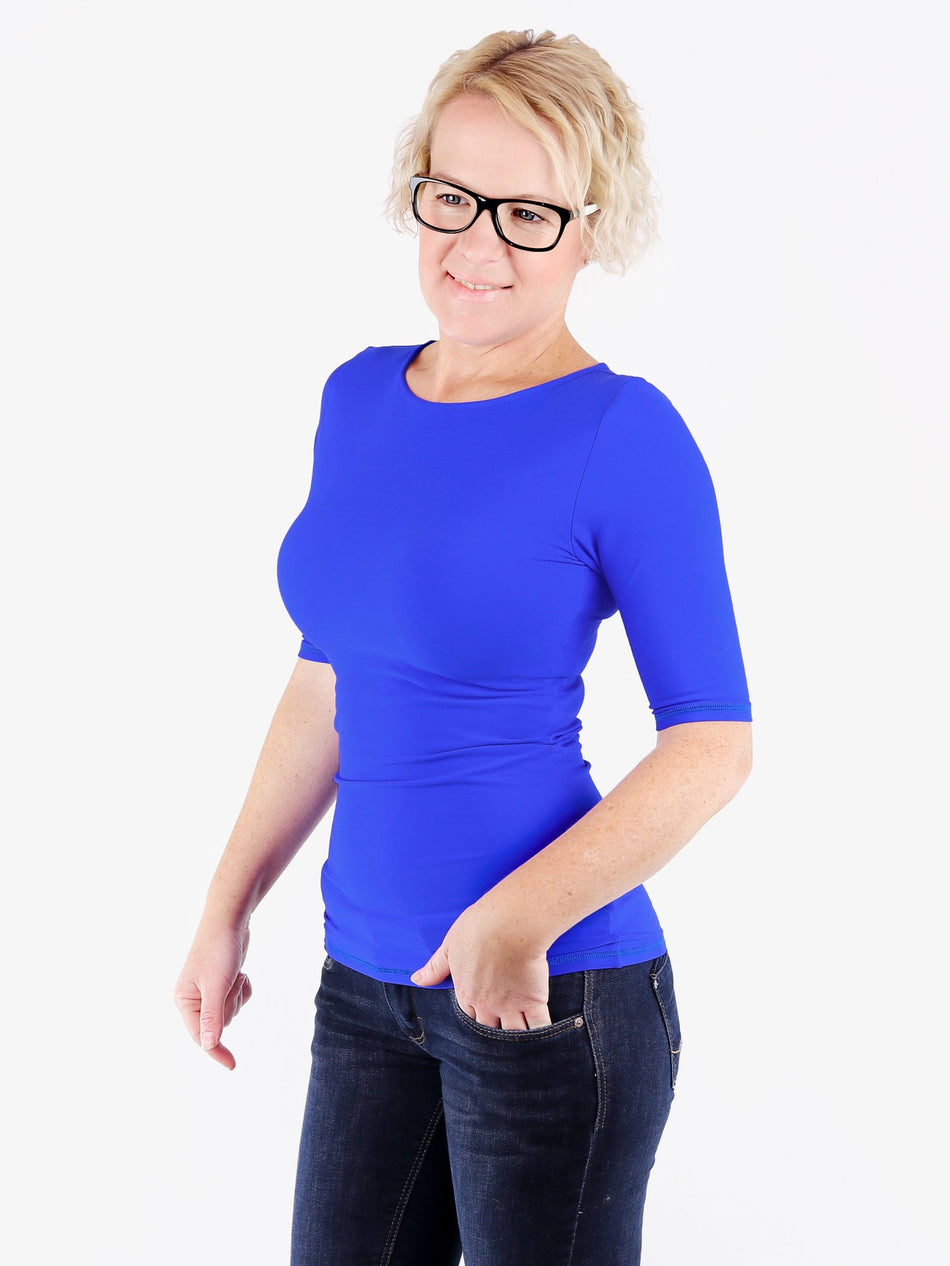 Handmade Minimalist Royal Blue Crew Neck Tops with Elbow Sleeves - 3