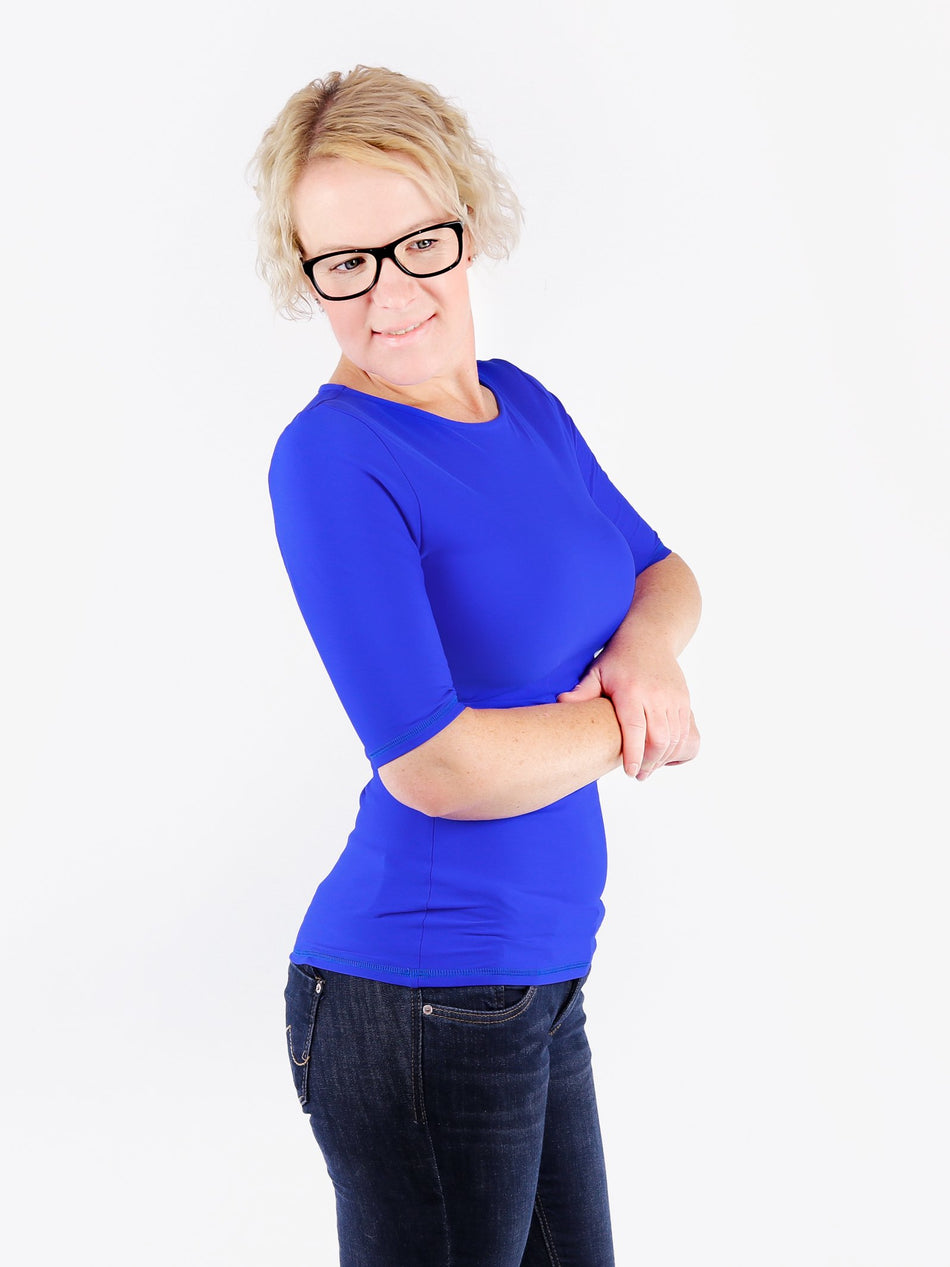 Handmade Minimalist Royal Blue Crew Neck Tops with Elbow Sleeves - 6