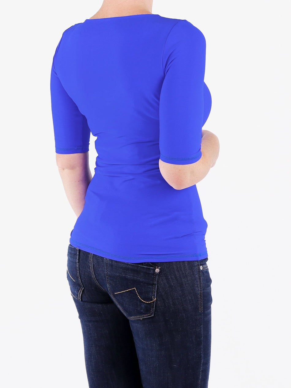 Handmade Minimalist Royal Blue Crew Neck Tops with Elbow Sleeves - 5