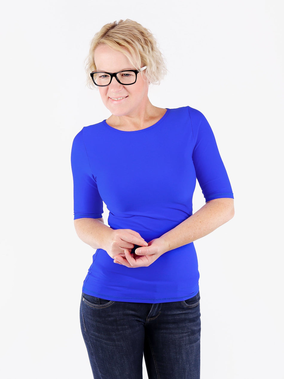 Handmade Minimalist Royal Blue Crew Neck Tops with Elbow Sleeves - 1