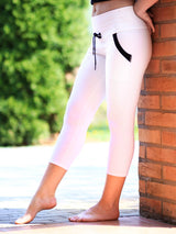 Custom Black White Yoga Pants with Drawstring and Pockets - 8