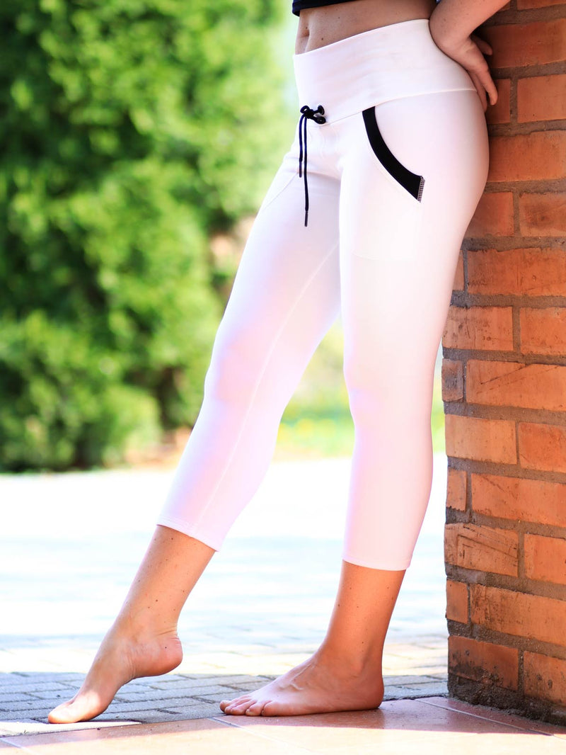 dcb962d97038e1 ... Black White Yoga Pants with Drawstring and Pockets - Custom Made - Yoga  wear leggings ...