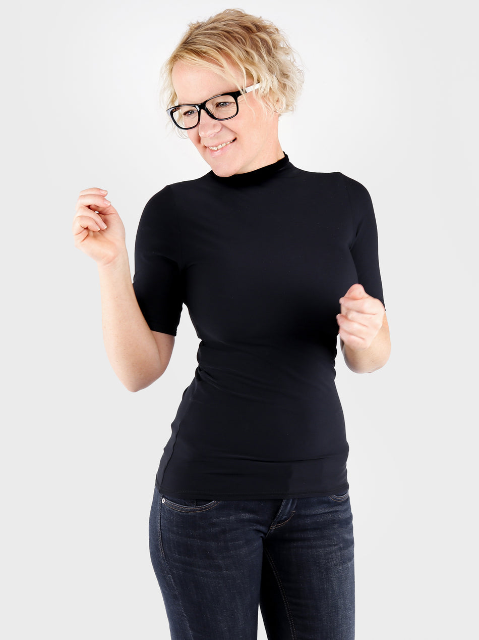 Minimalist Customized Black Short Sleeve Turtleneck Shirt- 1