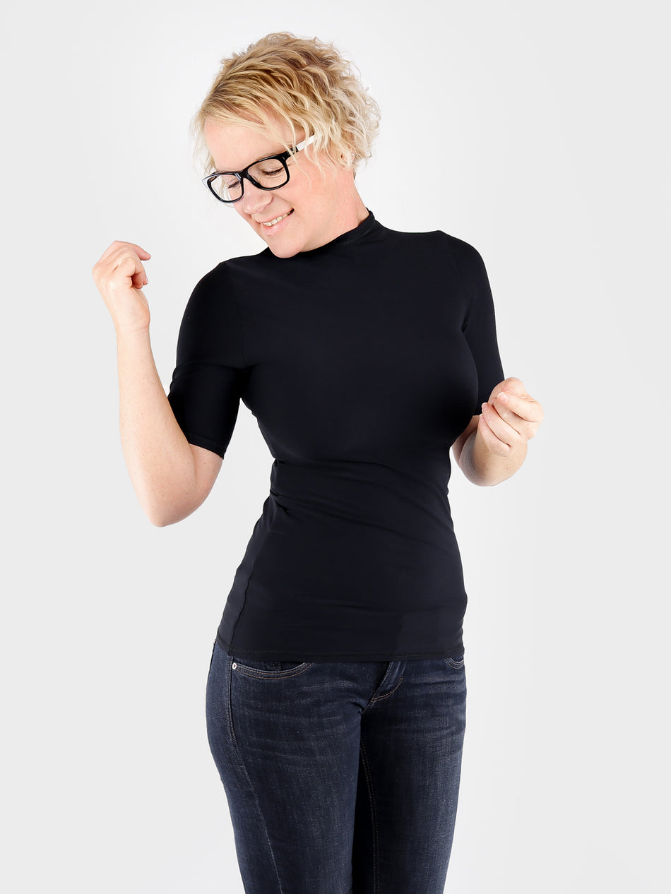 Minimalist Customized Black Short Sleeve Turtleneck Shirt- 4