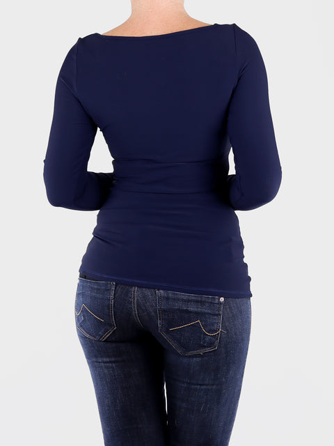 Long Sleeve Long Navy Blue Boat Neck Women's Slim Fit Shirt - 5