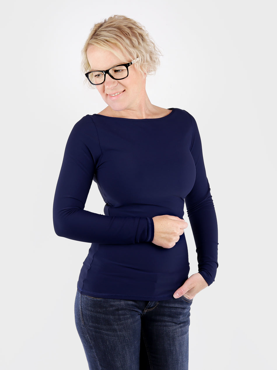 Long Sleeve Long Navy Blue Boat Neck Women's Slim Fit Shirt - 6