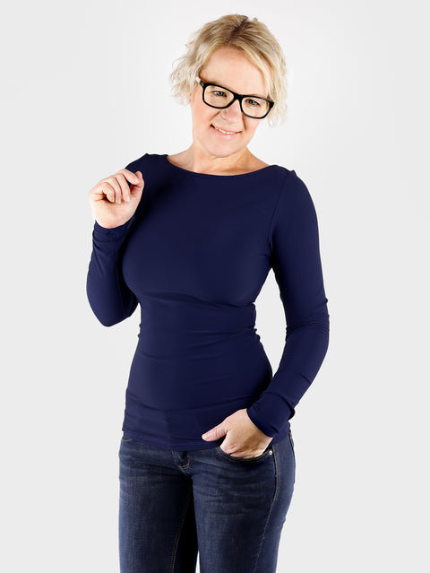 Long Sleeve Long Navy Blue Boat Neck Women's Slim Fit Shirt - 4