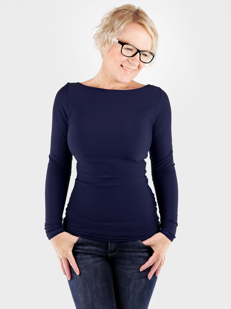 Long Sleeve Long Navy Blue Boat Neck Women's Slim Fit Shirt - 3