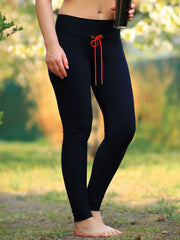 BCustom Mid Waist Black Yoga Pants with Drawstring Waist - 10