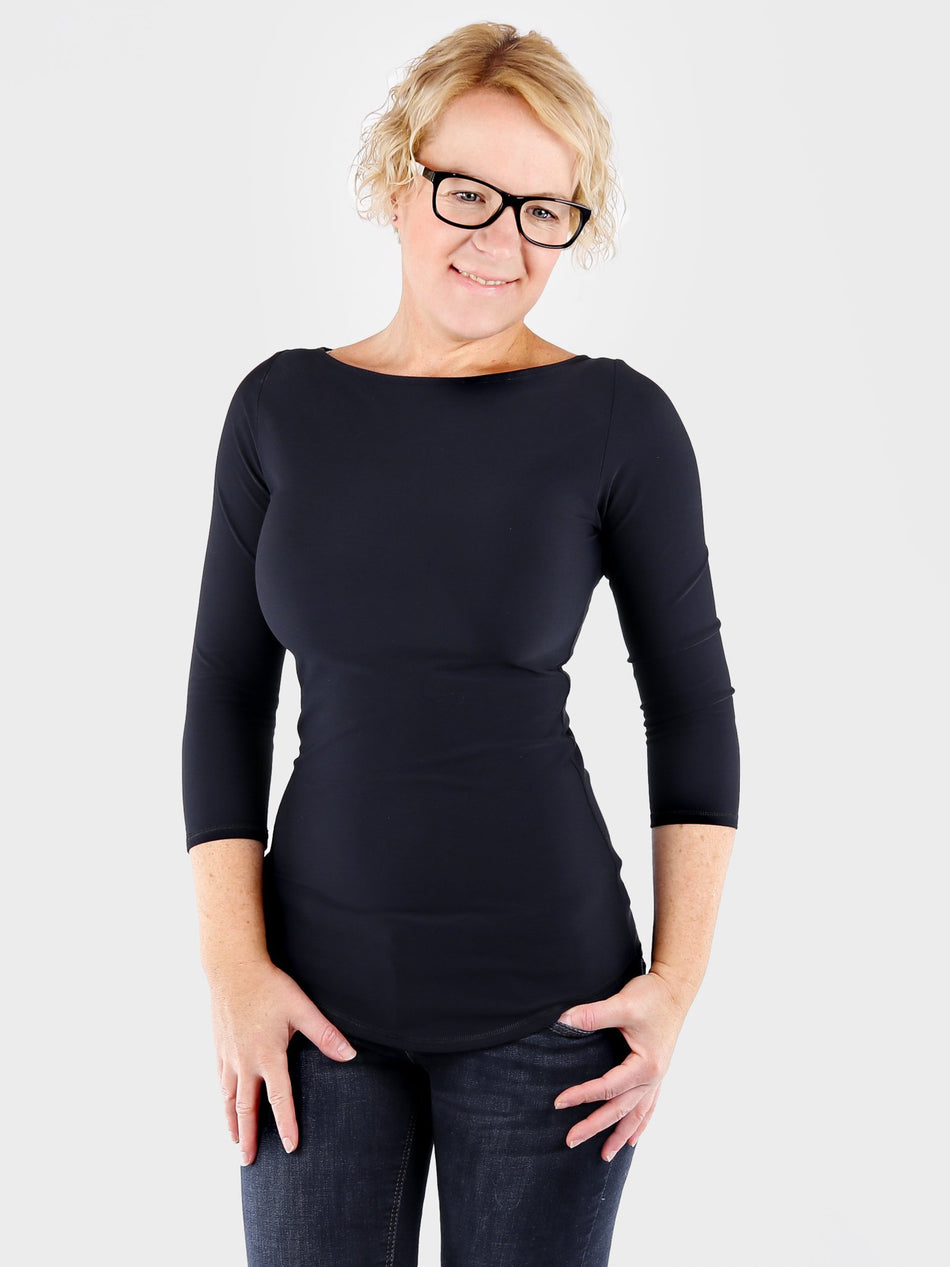 Basic Fitted Black Boat Neck Top 3/4 Sleeves with Curvy Bottom Line - 3