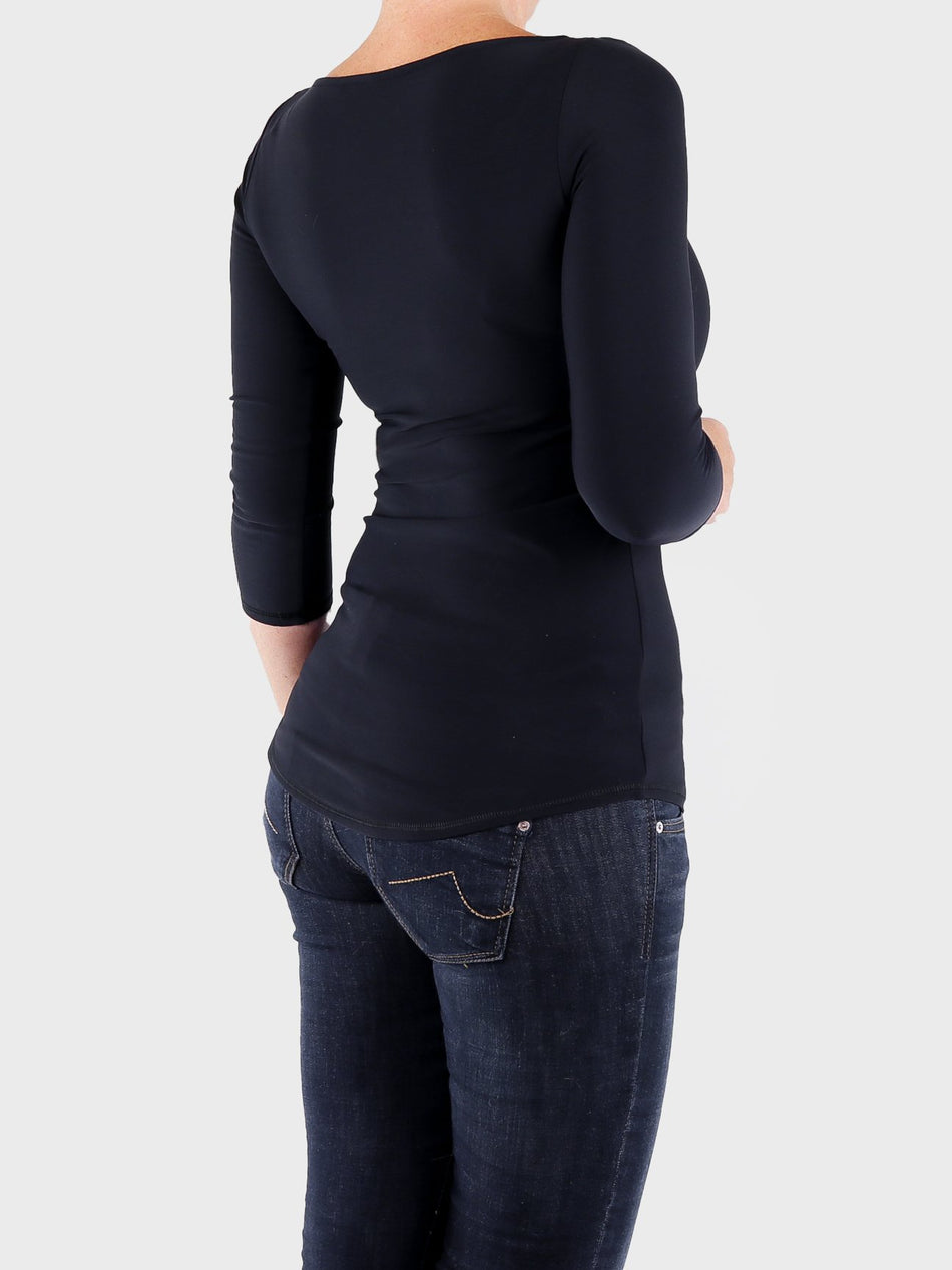Basic Fitted Black Boat Neck Top 3/4 Sleeves with Curvy Bottom Line - 4