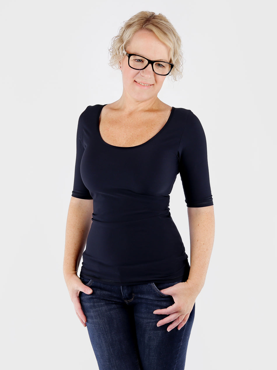 Handmade Stretch Skinny Cleavage Basic Black Top for Work Wear - 5