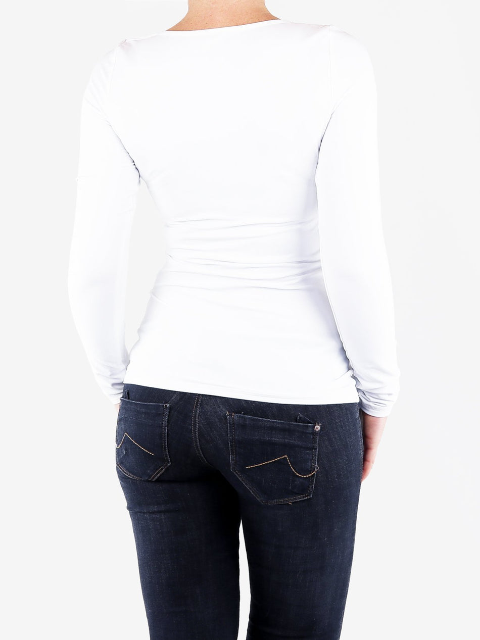 Handmade Casual Skinny White Scoop Neck Long Sleeve Top - 5