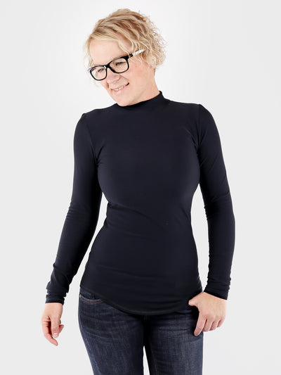 Custom Handmade Slim Fit Everyday Long Black Mock Neck Top - 6