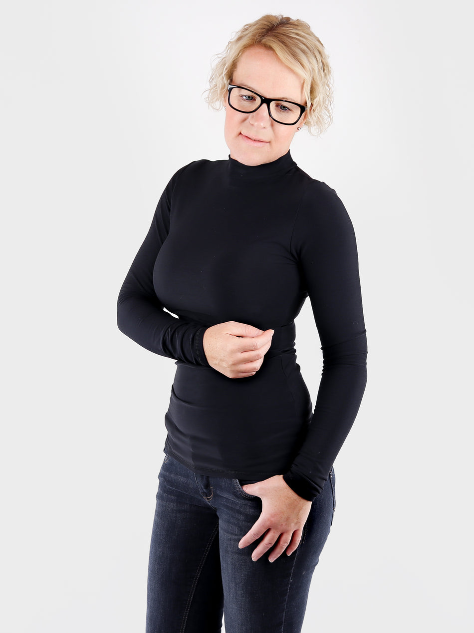 Designer Women's Basic Black Long Sleeve Mock Neck Top - 6