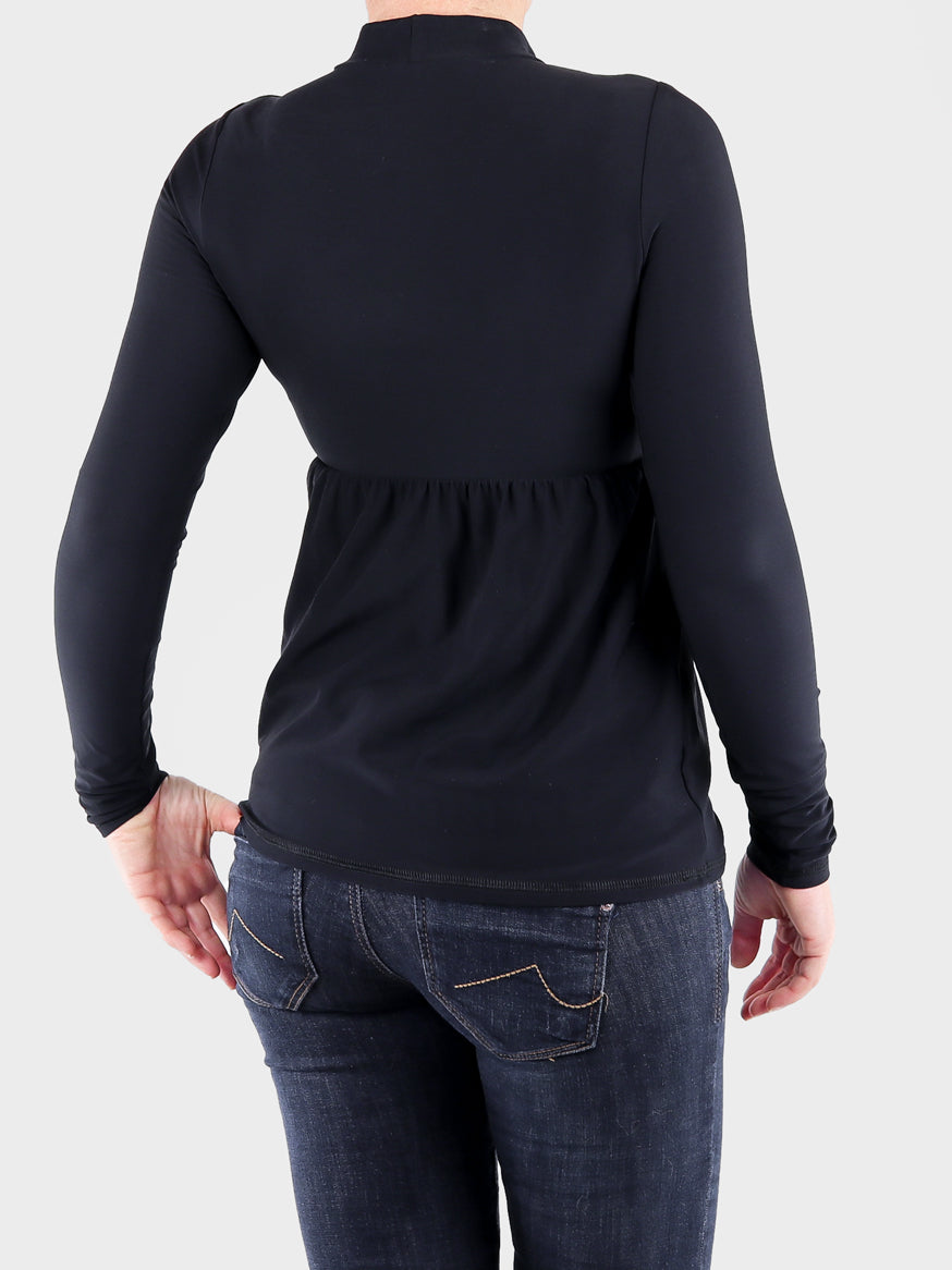Black Mock Neck Top with Ruffle Empire Waist - 5