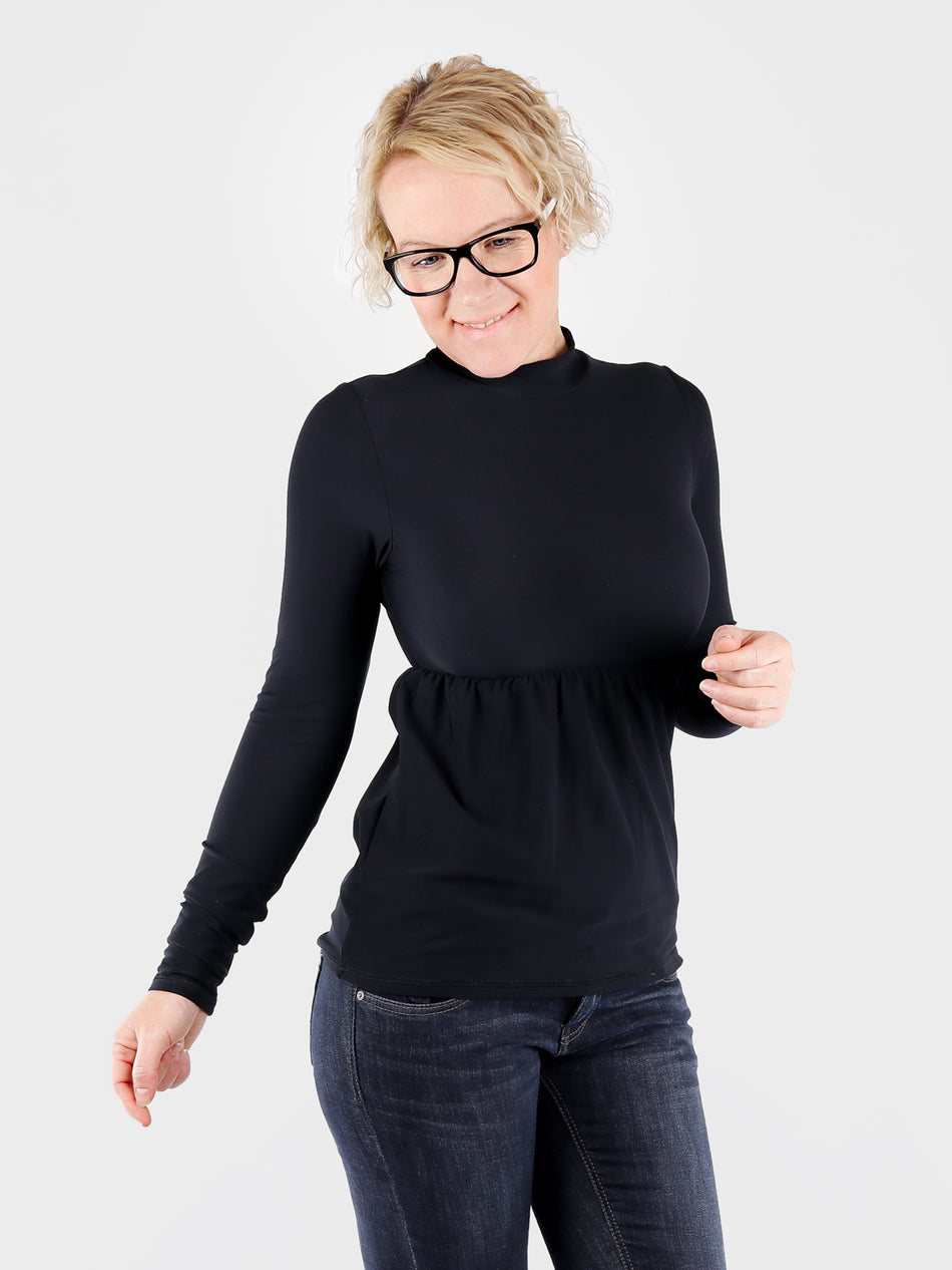 Black Mock Neck Top with Ruffle Empire Waist - 3