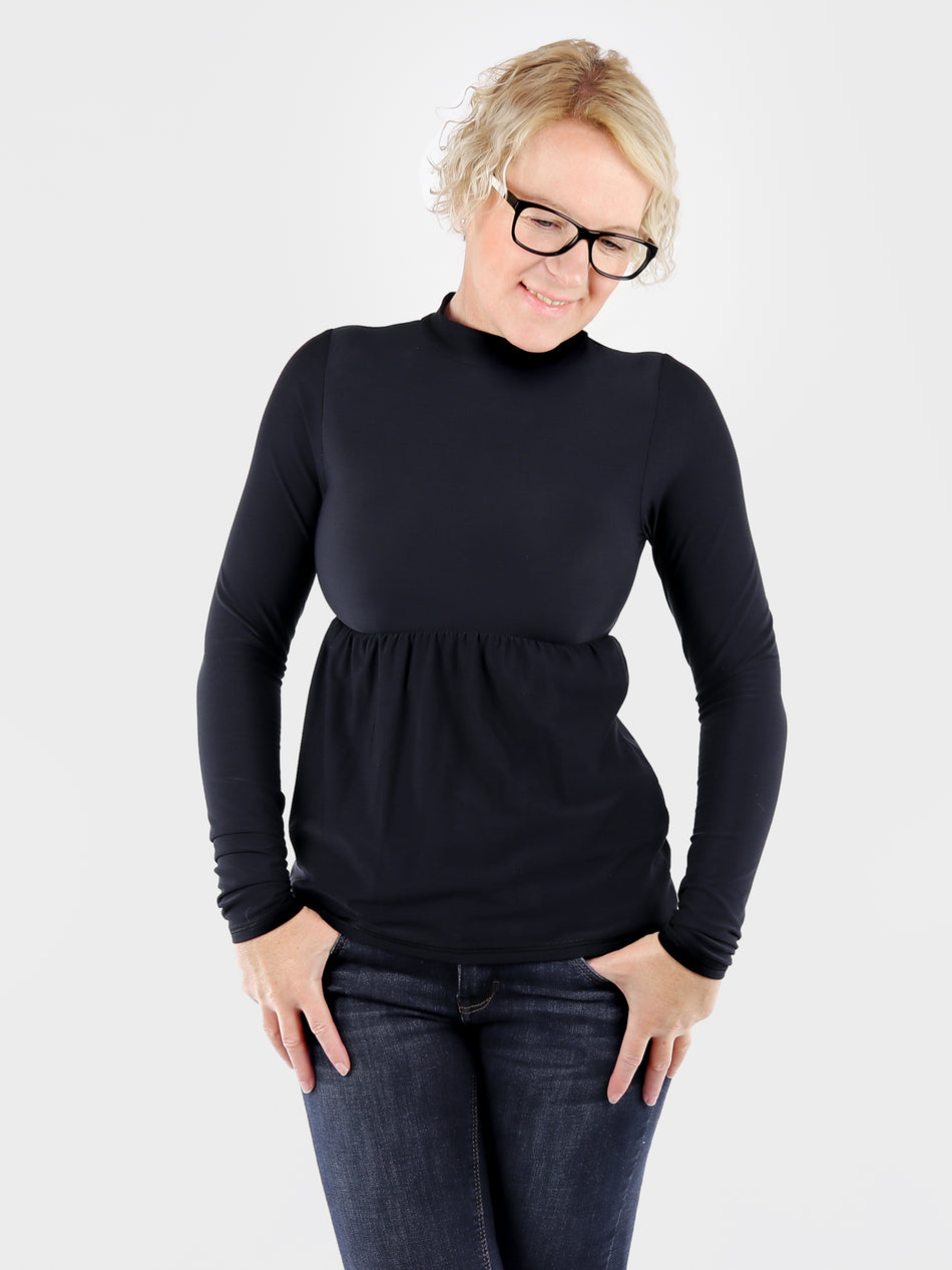 Black Mock Neck Top with Ruffle Empire Waist - 6