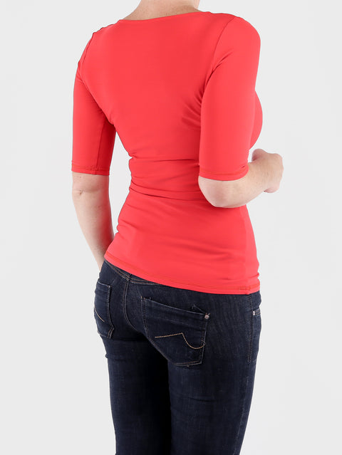 Scoop Neck Every Day Red Basic Women's Fitted Top for Jeans - 5