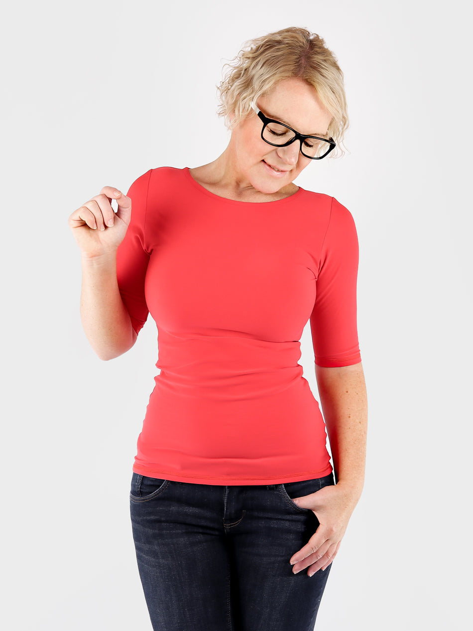 Scoop Neck Every Day Red Basic Women's Fitted Top for Jeans - 3