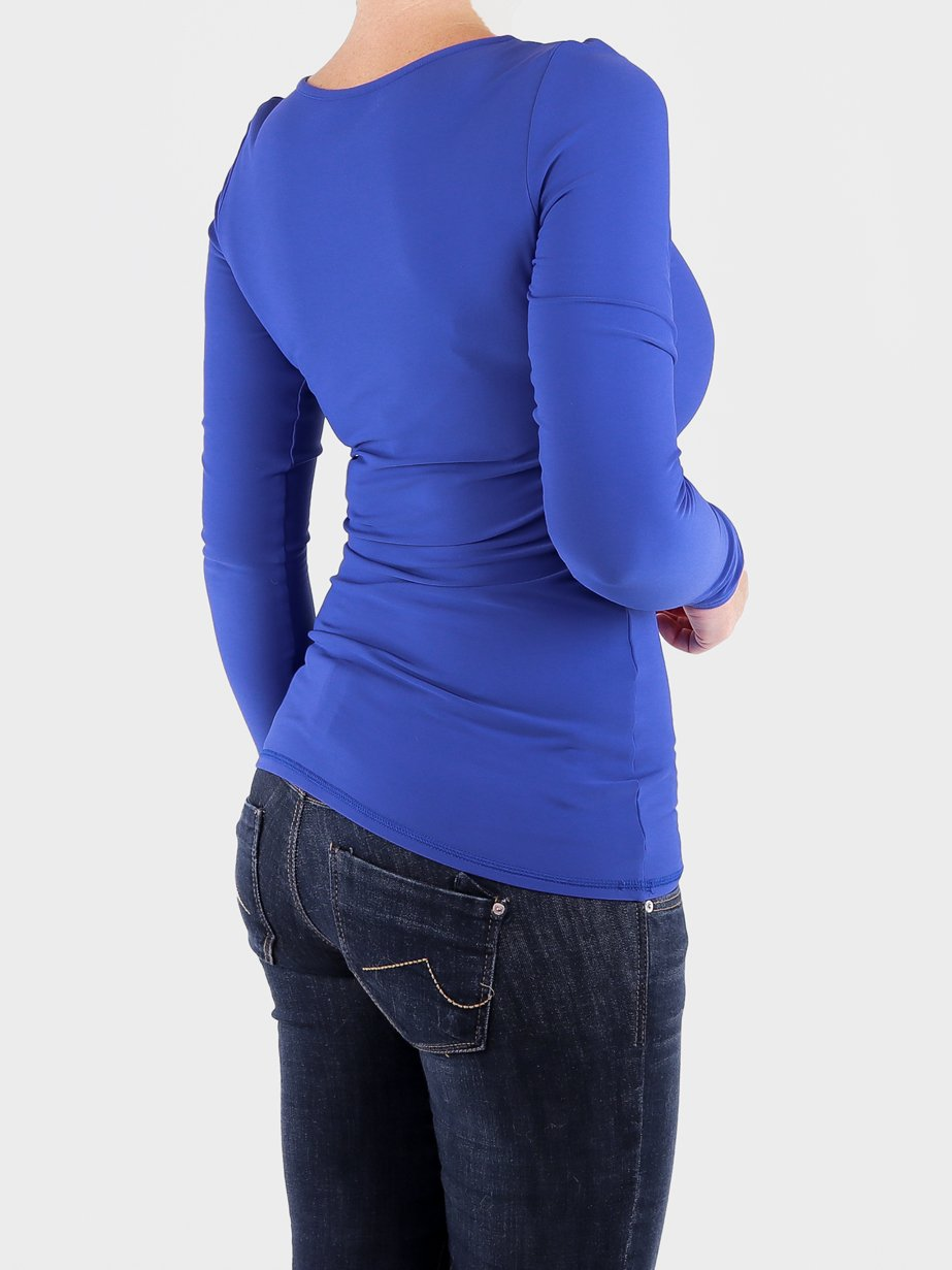 High End Fitted Blue Long Sleeve Crew Neck Tops for Ladies - 3