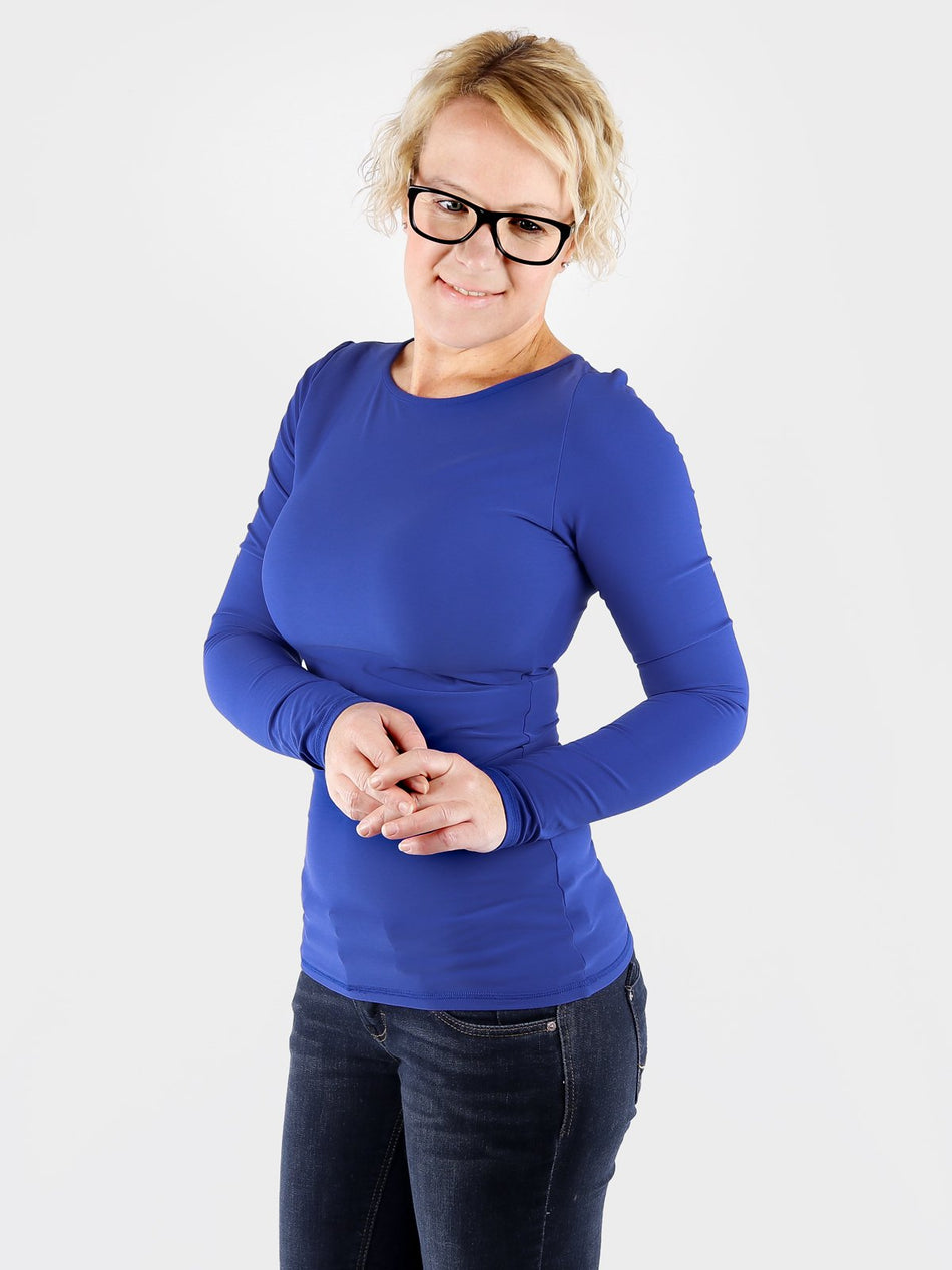 High End Fitted Blue Long Sleeve Crew Neck Tops for Ladies - 2