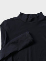 Custom Handmade Slim Fit Everyday Long Black Mock Neck Top - 4