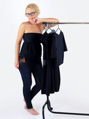 Summer Bandeau Black Strapless Ruffle Top with Empire Waist - 5