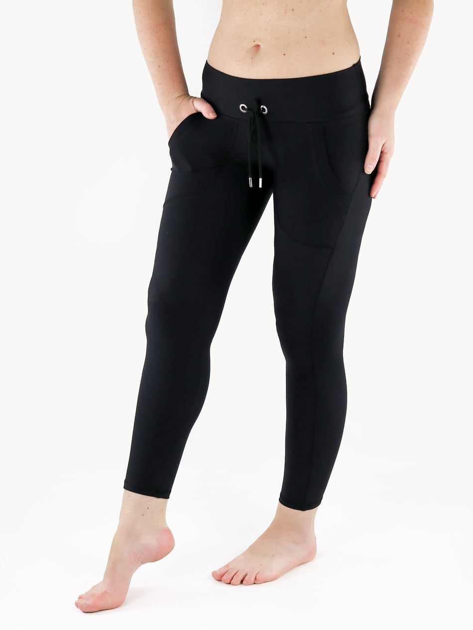 Drawstring Leggings with Front Pockets - 5