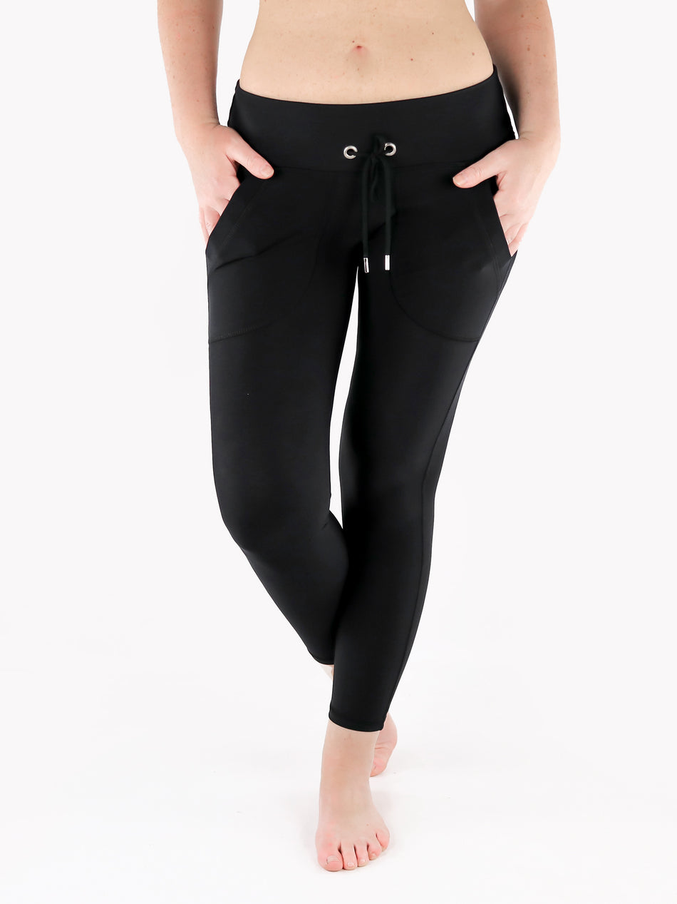 Drawstring Leggings with Front Pockets - 9