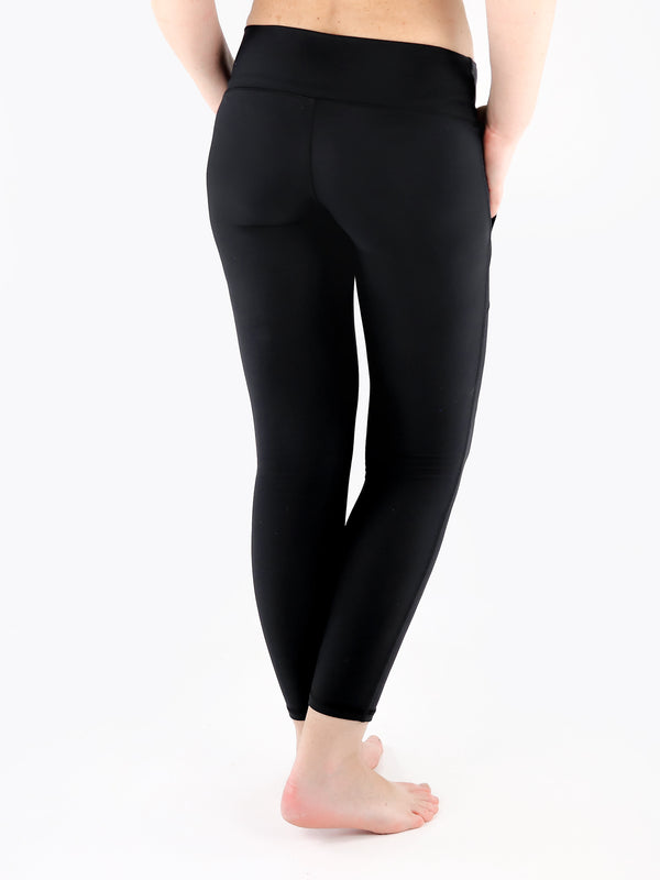 Black Crop Leggings with Front Pockets - Low Waisted - 6
