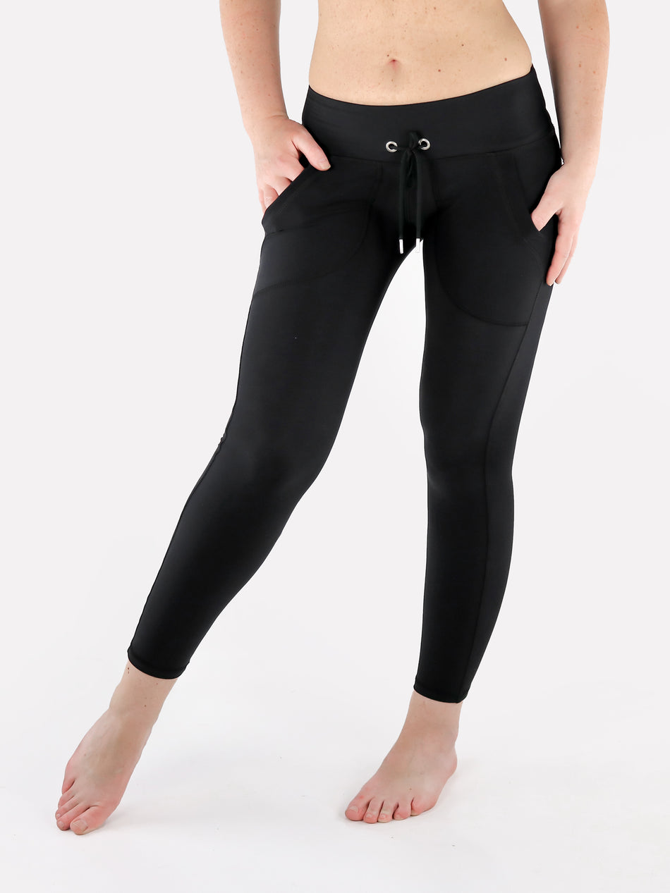 Drawstring Leggings with Front Pockets - 1