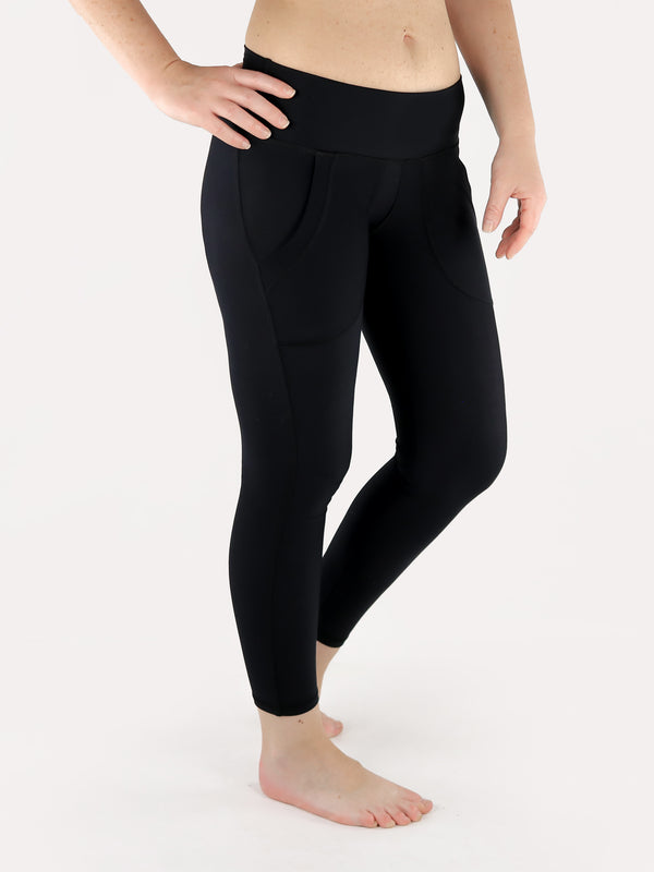 Black Crop Leggings with Front Pockets - Low Waisted - 5