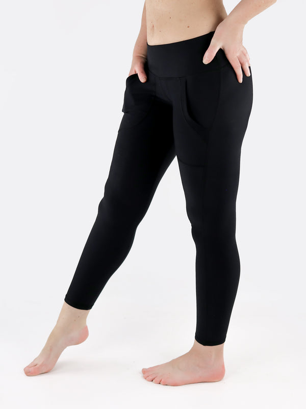 Black Crop Leggings with Front Pockets - Low Waisted - 2
