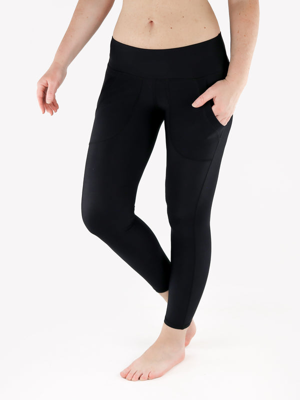 Black Crop Leggings with Front Pockets - Low Waisted - 1