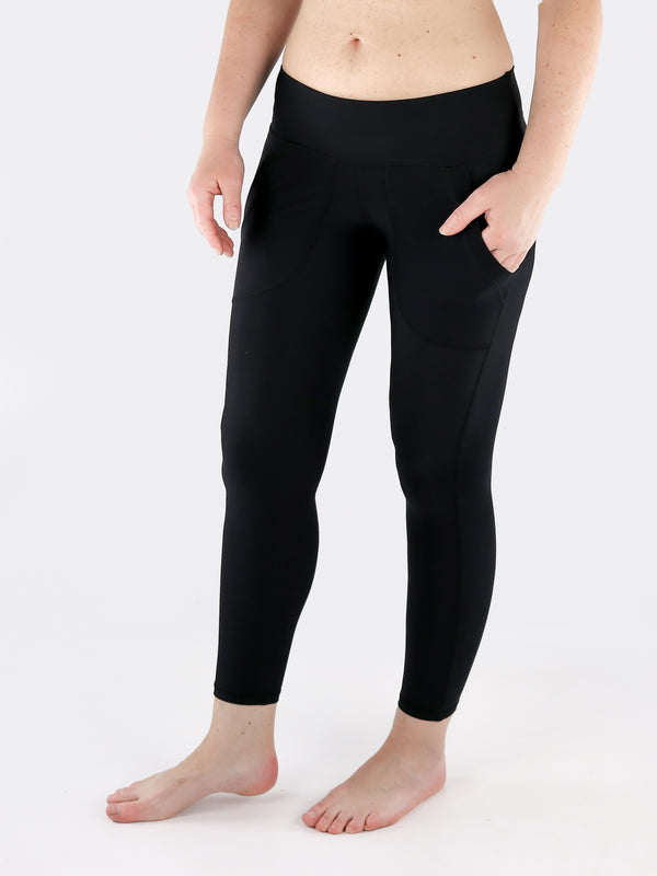 Black Crop Leggings with Front Pockets - Low Waisted - 3