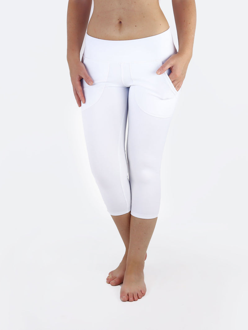 Capri Low Waisted Handmade White Yoga Pants with Front Pockets