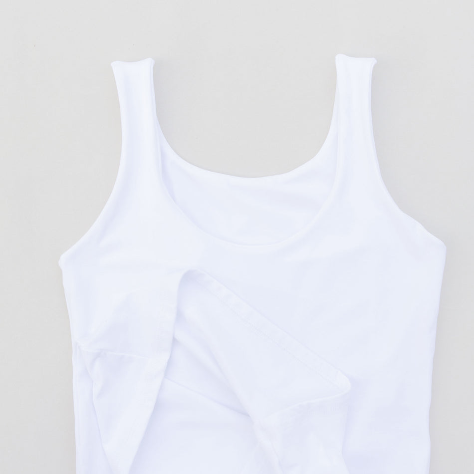 Seamless Wide Arms White Extra Long Tank Top Essential for Summer - 7