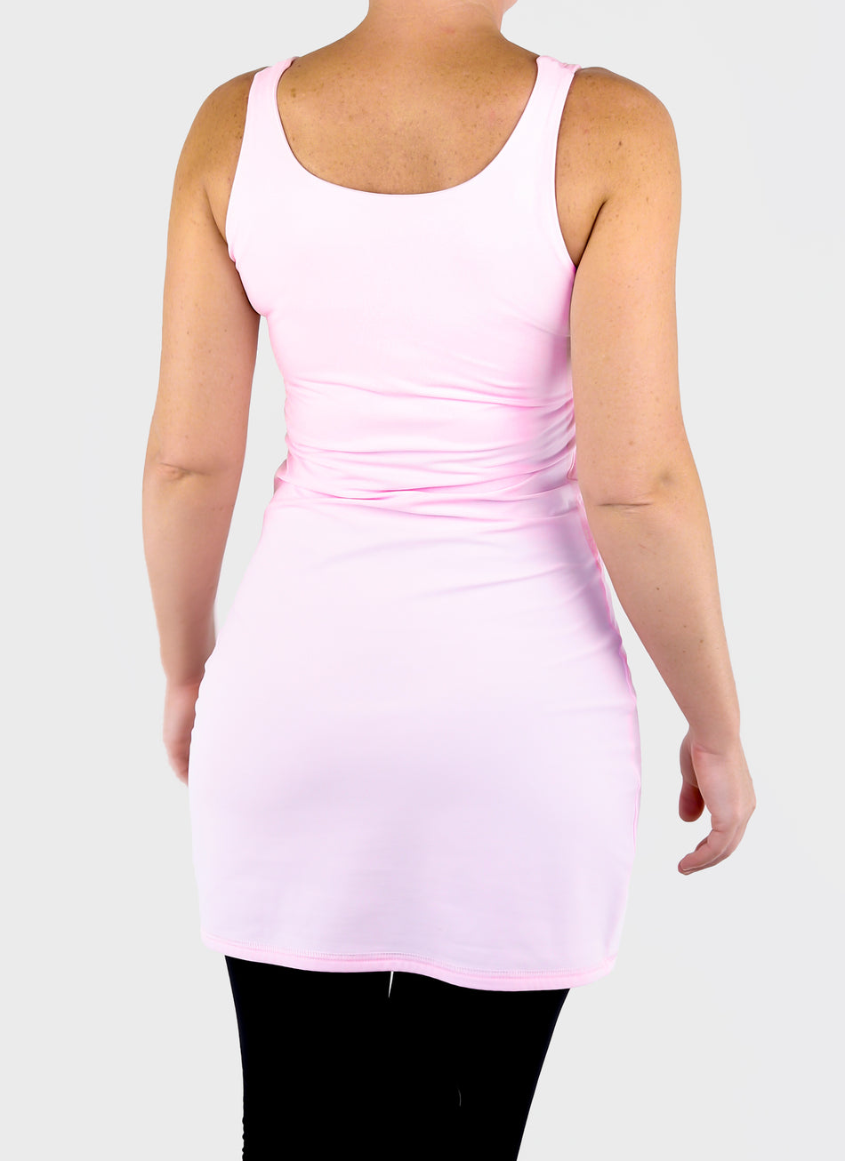 Perfect Fit Extra Long Basic Baby Pink Tank Tunic Top for Leggings - 5
