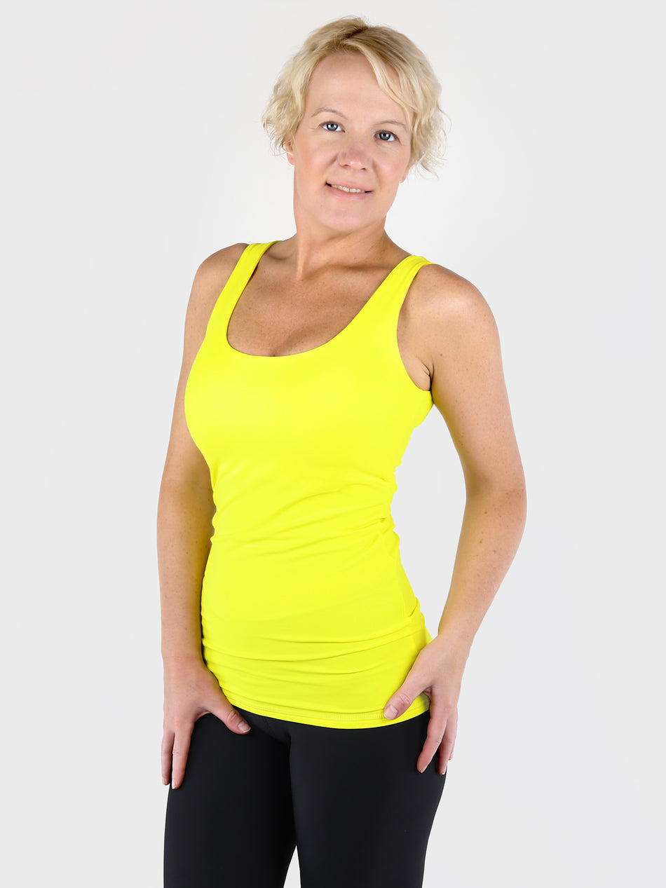 Yellow Basic Double Layer Tank Top with Wide Straps for Every Day Wear - 3