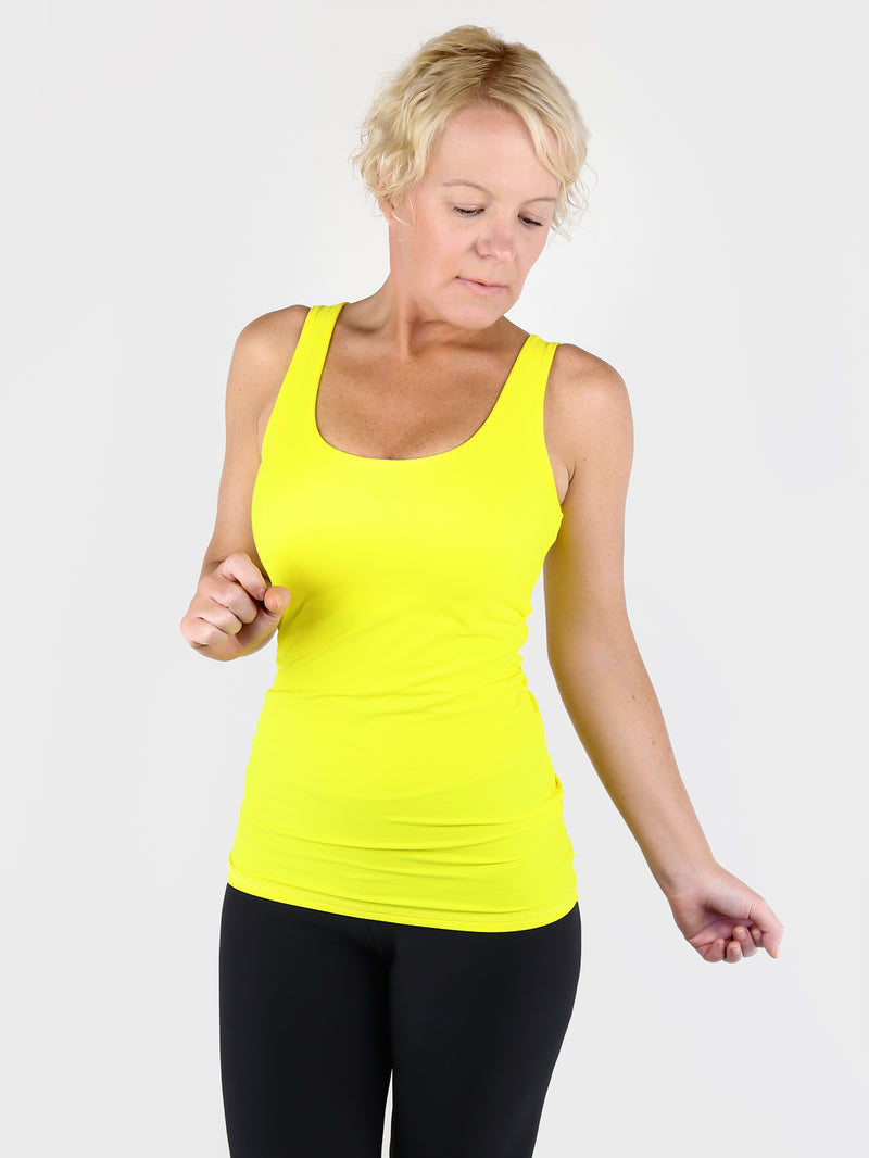 Yellow Basic Double Layer Tank Top with Wide Straps for Every Day Wear - 1